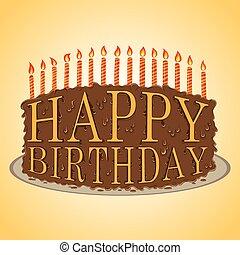 torta, szöveg, születésnap, boldog