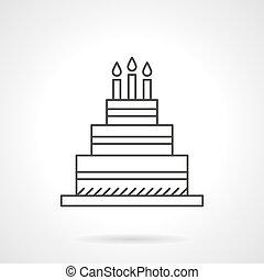 torta, születésnap, ikon, vektor, tervezés, egyenes, lakás