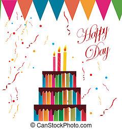 torta, születésnap, színes