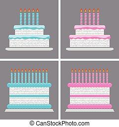 torta, születésnap, vektor, gyűjtés, ikonok