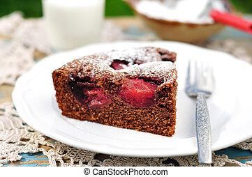 torta, szilva, darab, csokoládé