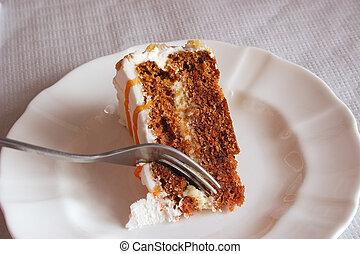 torta, taglio, carota
