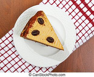 torta, tavola, primo piano, pezzo