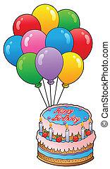 torta, tema, 2, compleanno