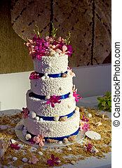 torta, tema, matrimonio spiaggia