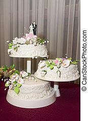 torta, three-tiered, matrimonio