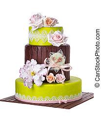 torta, tiered, roses., matrimonio