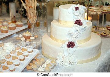 torta, tiered, tre, matrimonio