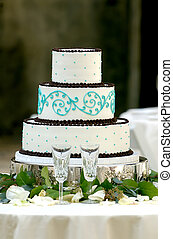 torta, tiered, unico, tre, matrimonio