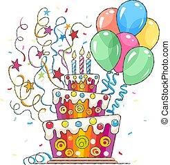 torta, vacanza, palle, saluti, compleanno