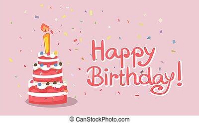 torta, vektor, boldog születésnapot, kártya, tervezés, ábra