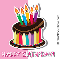 torta, vettore, compleanno, cioccolato