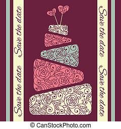 torta, vettore, matrimonio