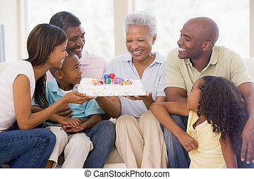 torta, vivente, sorridente, stanza, famiglia