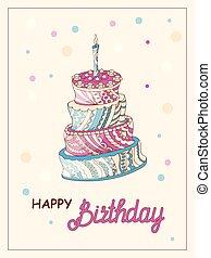 torta, zen, scheda compleanno