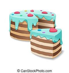 torte, affetti torta, vettore, pezzo torta, o
