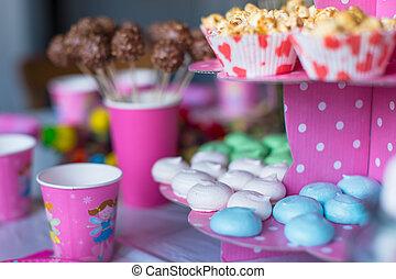 torte, colorato, dolce, bevande, popcorn, torta, tavola, meringhe, crema