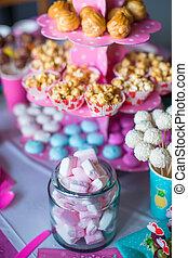 torte, colorato, festivo, dolce, marshmallow, bevande, popcorn, torta, tavola, bianco, meringhe, crema