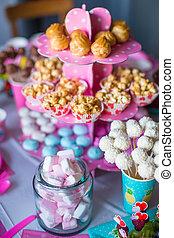 torte, colorato, marshmallow, dolce, bevande, popcorn, torta, tavola, bianco, meringhe, crema