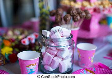 torte, colorato, marshmallow, dolce, bevande, popcorn, torta, tavola, meringhe, crema