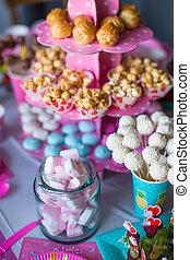 torte, colorato, marshmallow, dolce, meringhe, bevande, popcorn, torta, tavola, bianco, deserto, crema