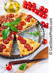 torte, mit, mozzarella, huhn, und, tomatoes., italienische speise