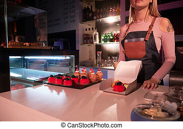 torte, negozio, lavorativo, panetteria, donna