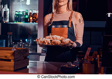 torte, panetteria, donna lavoratrice, negozio