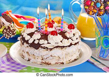 torte, partido, aniversário, crianças, chocolate