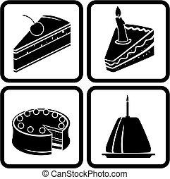 torte, set, icone
