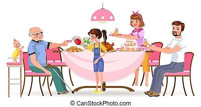 torte, vecchio, famiglia, persone, insieme, ragazza, bambini, volerci, cenando, trattare, casa, dad felice, mangiare, seduta, cibo, illustrazione, nonna, mamma, presa, mangiare, cura, nonno, cena, vettore, tavola