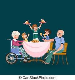 torte, vecchio, famiglia, persone, insieme, ragazza, bambini, volerci, cenando, trattare, casa, felice, mangiare, seduta, cibo, nipote, nonna, presa, mangiare, cura, illustration., nonno, cena, vettore, tavola