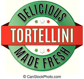 tortellini, écusson, rond, délicieux