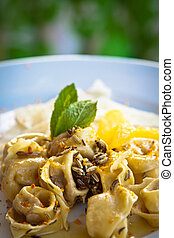 Tortellini with fennel, orange and mint.