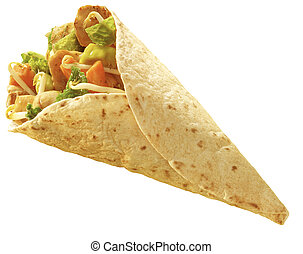 tortilla Chicken wrap - chicken and vegetables wrapped in a...