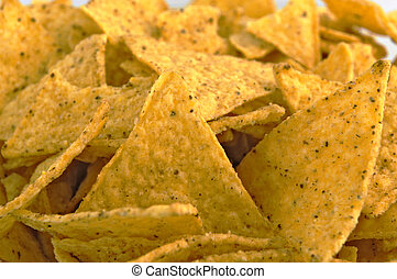 Tortilla chips - Arranged detail of tortilla chips