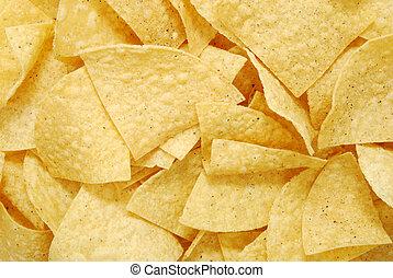 Tortilla Chips - close up of tortilla chips