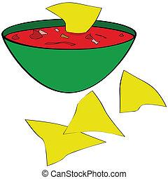 Tortilla chips with salsa - Illustration of corn tortilla...