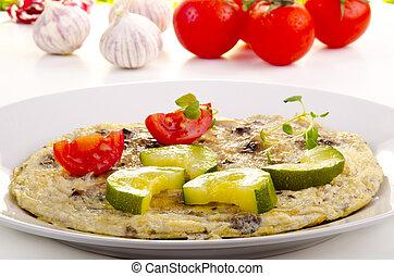 tortilla, con, courgette, y, tomate