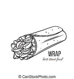 tortilla, obálky, nárys