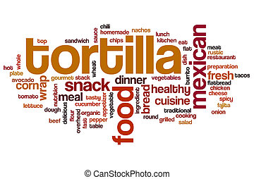 tortilla, ord, moln