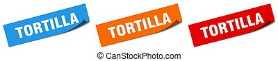 tortilla paper peeler sign set. tortilla sticker
