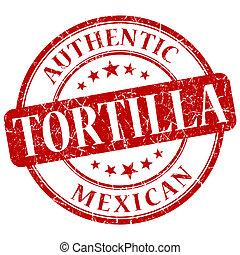 tortilla red grunge stamp