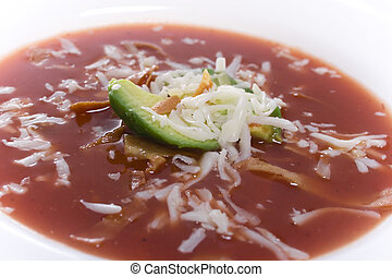 Tortilla Soup - Close up of bowl of southwestern/mexican...