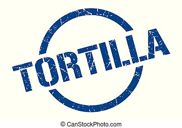 tortilla stamp - tortilla blue round stamp