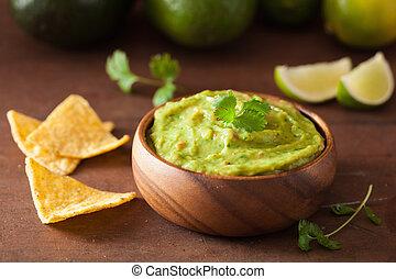 tortilla, trempette, nachos, mexicain, chips, guacamole