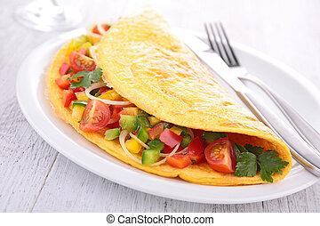 tortilla, vegetales, llenado