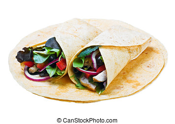 tortilla with chicken meat and fresh vegetables