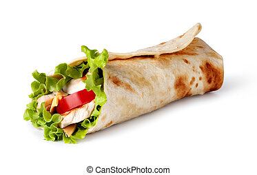 tortilla wrap, fajita - Chicken fajita wrap sandwich