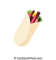 Tortilla wrap with meat and vegetables icon